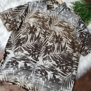 Tasso Elba Tropical Button Front Silk Short Sleeve